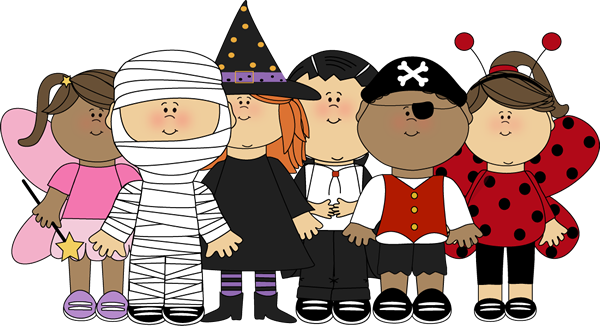 Cartoon children dressed in cosutmes for Halloween