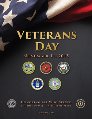Department of Veterans' Affairs 2015 Veterans Day poster featuring the seals of each branch of the military