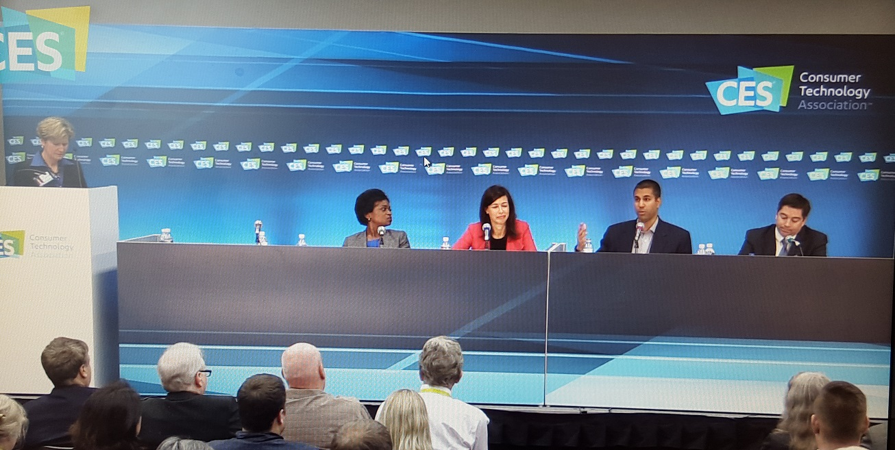 Federal Communications Commissioners Clyburn, Rosenworcel, Pai, and O'Rielly speaking on a CES2016 panel