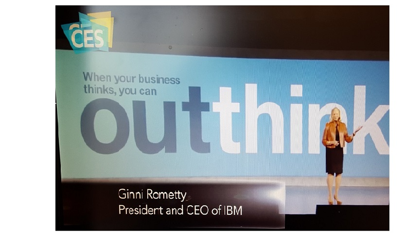 Ginni Rometty, the CEO of IBM, giving a keynote address at CES2016