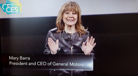 Mary Barra, President and CEO of General Motors, giving a keynote address at CES2016